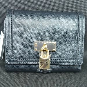 Guess all black trifold wallet